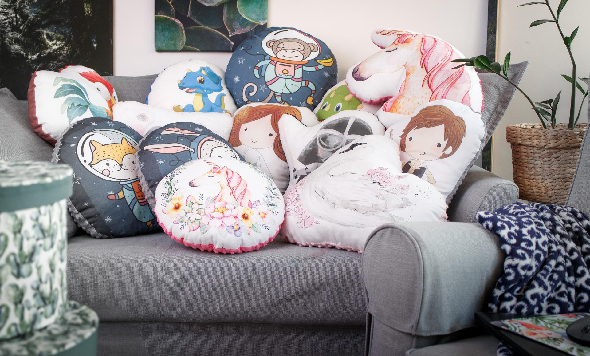 cała kolekcja poduszek - przutulanek